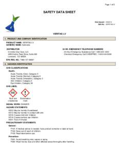 Page 1 of 5  SAFETY DATA SHEET Date Issued : SDS No : VERITAS LV