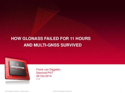 HOW GLONASS FAILED FOR 11 HOURS AND MULTI-GNSS SURVIVED Frank van Diggelen, Stanford PNT 29 Oct 2014