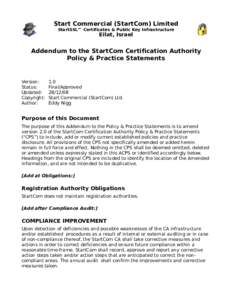 Start Commercial (StartCom) Limited StartSSL™ Certificates & Public Key Infrastructure Eilat, Israel  Addendum to the StartCom Certification Authority