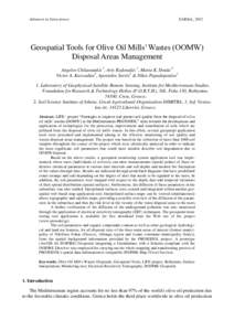 Advances in Geosciences  EARSeL, 2012 Geospatial Tools for Olive Oil Mills' Wastes (OOMW) Disposal Areas Management