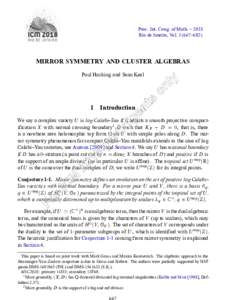 Proc. Int. Cong. of Math. – 2018 Rio de Janeiro, Vol–692) MIRROR SYMMETRY AND CLUSTER ALGEBRAS Paul Hacking and Sean Keel