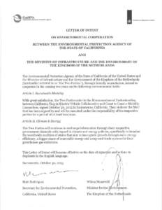 Letter of Intent on Environmental Cooperation Between the Environmental Protection Agency of the State of California and the Ministry of Infrastructure and the Environment of the Kingoom of the Netherlands