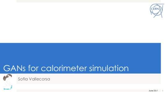 GANs for calorimeter simulation Sofia Vallecorsa June