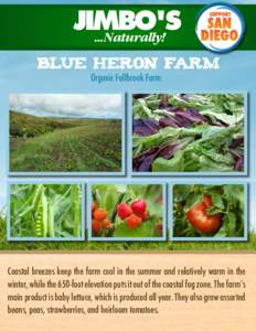 BLUE HERON FARM Organic Fallbrook Farm Coastal breezes keep the farm cool in the summer and relatively warm in the winter, while the 650-foot elevation puts it out of the coastal fog zone. The farm's main product is ba