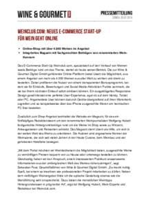 Pressemitteilung Zürich, Weinclub.com: Neues E-Commerce Start-Up für Wein geht online §
