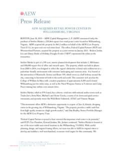 Microsoft Word - AEW Acquires Settlers Market in Virgina - AEW Press Release.docx