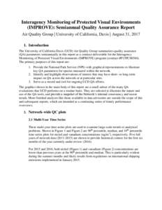 Interagency Monitoring of Protected Visual Environments (IMPROVE): Semiannual Quality Assurance Report Air Quality Group | University of California, Davis | August 31, Introduction The University of California Da