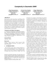 Complexity in Geometric SINR Olga Goussevskaia Yvonne Anne Oswald  Roger Wattenhofer