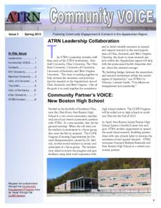 Issue 3  Spring 2013 Fostering Community Engagement & Outreach in the Appalachian Region