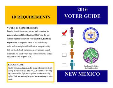 ID REQUIREMENTSVOTER GUIDE  VOTER ID REQUIREMENTS