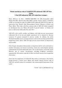 Meisei awarded an order of 10,000PCS GPS radiosonde
