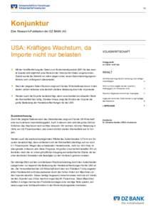 1/9  Konjunktur Eine Research-Publikation der DZ BANK AG  USA: Kräftiges Wachstum, da