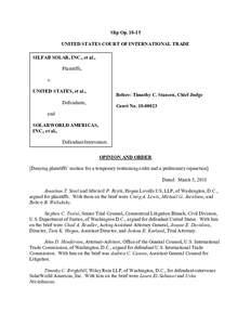 Slip OpUNITED STATES COURT OF INTERNATIONAL TRADE SILFAB SOLAR, INC., et al., Plaintiffs, v. UNITED STATES, et al.,