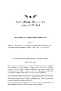 Excerpt from Vol. 3, Issue 2 (Spring/SummerCite as: Robert S. Litt, Remarks, U.S. Intelligence Community Surveillance One