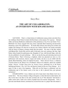 Calabash A JOURNAL OF CARIBBEAN ARTS AND LETTERS Volume 5, Number 1: Summer/FallSassy Ross