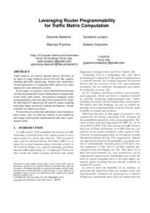 Leveraging Router Programmability for Traffic Matrix Computation ⇤  Giacomo Balestra‡