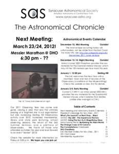 Next Meeting: March 23/24, 2012! Messier Marathon @ DHO 6:30 pm - ??
