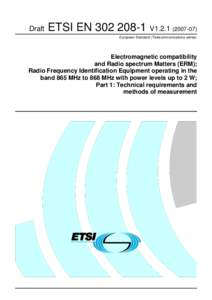 Draft  ETSI ENV1European Standard (Telecommunications series)  Electromagnetic compatibility