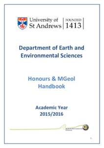 Department of Earth and Environmental Sciences Honours & MGeol Handbook Academic Year