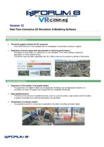 Version 12 Real-Time Interactive 3D Simulation & Modeling Software Supporting 64bit native 