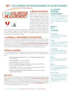 info The ILO Manual on the Measurement of Volunteer Work an overview for statistical agencies An undervalued resource Volunteer work is a sizeable part of the labour force in most countries and