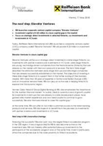 Vienna, 17 MayThe next step: Elevator Ventures   