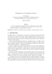 Nonlinearity in Complexity Science R.S.MacKay Mathematics Institute and Centre for Complexity Science University of Warwick, Coventry CV4 7AL, U.K. August 25, 2008