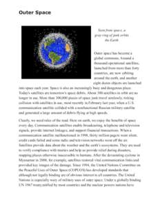Outer Space  Seen from space, a gray ring of junk orbits the Earth Outer space has become a