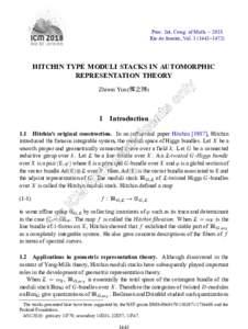 Proc. Int. Cong. of Math. – 2018 Rio de Janeiro, Vol–1472) HITCHIN TYPE MODULI STACKS IN AUTOMORPHIC REPRESENTATION THEORY Zhiwei Yun (恽之玮)