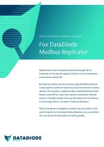 protecting modbus operated ics assets  Fox DataDiode Modbus Replicator Modbus data can be transparently replicated through the Fox DataDiode. In this way, the integrity of devices in critical production