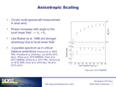 Anisotropic Scaling •  Cluster multi-spacecraft measurement in slow wind