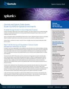 Splunk Solution Brief  Manage Splunk Data, Not The Storage