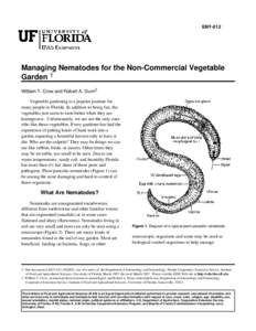 ENY-012  Managing Nematodes for the Non-Commercial Vegetable Garden 1 William T. Crow and Robert A. Dunn2 Vegetable gardening is a popular pastime for