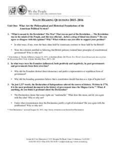 STATE HEARING QUESTIONS 2015–2016