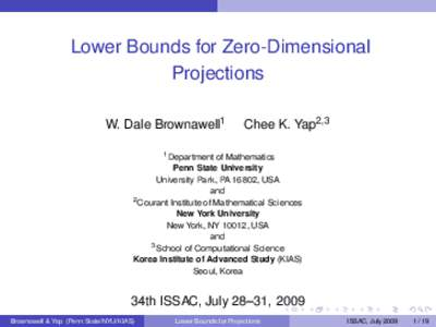 Lower Bounds for Zero-Dimensional Projections W. Dale Brownawell1 Chee K. Yap2,3