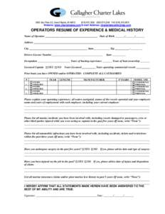 3455 East Paris SE, Grand Rapids, MI2248 FAXWebsite: www.charterlakes.com E-mail Address:  OPERATORS RESUME OF EXPERIENCE & MEDICAL HISTORY Name of
