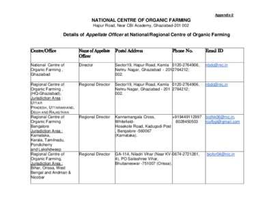 Appendix-2  NATIONAL CENTRE OF ORGANIC FARMING Hapur Road, Near CBI Academy, GhaziabadDetails of Appellate Officer at National/Regional Centre of Organic Farming