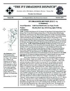 """THE IVY DRAGOONS DISPATCH"" Newsletter of the 3/8th Infantry, 4th Infantry Division - Vietnam War President: Steve Edmunds Volume IIII"