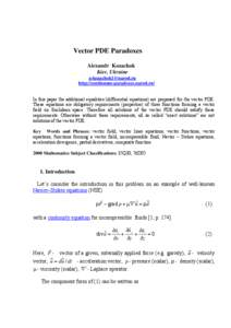 Vector calculus / Partial differential equations / Differential equation / Wave equation / Euler equations / Navier–Stokes equations / Divergence / Vector field / Method of characteristics / Calculus / Mathematical analysis / Mathematics