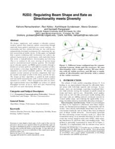 R2D2: Regulating Beam Shape and Rate as Directionality meets Diversity Kishore Ramachandran† , Ravi Kokku‡ , Karthikeyan Sundaresan‡ , Marco Gruteser† , and Sampath Rangarajan‡ †