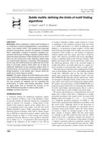 Vol. 18 noPages 1382–1390 BIOINFORMATICS  Subtle motifs: defining the limits of motif finding