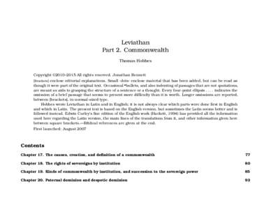 Leviathan Part 2. Commonwealth Thomas Hobbes Copyright ©2010–2015 All rights reserved. Jonathan Bennett [Brackets] enclose editorial explanations. Small ·dots· enclose material that has been added, but can be read a