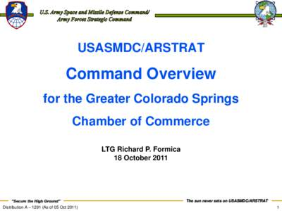 USASMDC/ARSTRAT  Command Overview for the Greater Colorado Springs Chamber of Commerce LTG Richard P. Formica