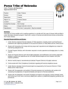 Ponca Tribe of Nebraska Intern, Finance Job Description ApprovedPosition:  Intern, Finance