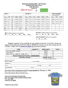 Primavera Century 2016 – 44th Annual Clothing Pre-Order Form Club Members Clothes by  &