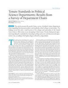 Tenure Standards in Political Science Departments: Results from a Survey of Department Chairs