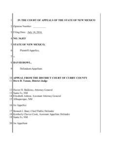 1  IN THE COURT OF APPEALS OF THE STATE OF NEW MEXICO 2 Opinion Number: __________ 3 Filing Date: July 14, 2016