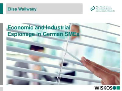 Elisa Wallwaey  Economic and Industrial Espionage in German SMEs  Overview