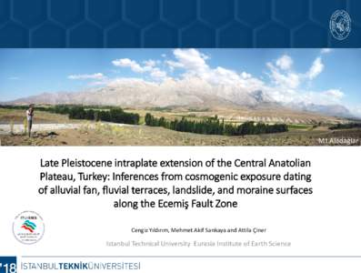 Mt.Aladağlar  Late Pleistocene intraplate extension of the Central Anatolian Plateau, Turkey: Inferences from cosmogenic exposure dating of alluvial fan, fluvial terraces, landslide, and moraine surfaces along the Ecemi