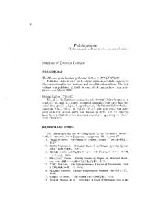 46  Publications (Titles marked with an asterisk are out of print.)  Institute of Oriental Culture